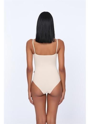 Obje Cotton İp Askılı Dantelli Çıtçıtlı Body Beyaz